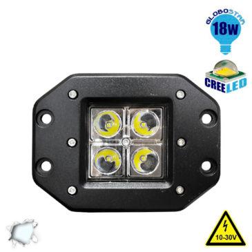 Χωνευτό Προβολάκι LED 18 Watt 10-30 Volt Ψυχρό Λευκό GloboStar 51117