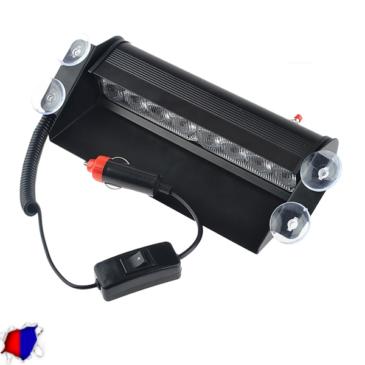Φώτα Αστυνομίας STROBO για Παρμπρίζ Αυτοκινήτου με Βεντούζες Στήριξης 8 LED 10-30V Μπλε & Κόκκινο GloboStar 77661