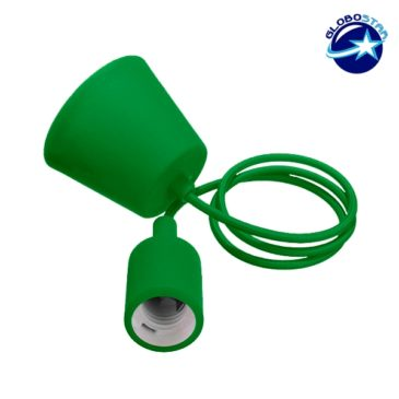 Πράσινο Κρεμαστό Φωτιστικό Οροφής Σιλικόνης με Υφασμάτινο Καλώδιο 1 Μέτρο E27 GloboStar Green 91007