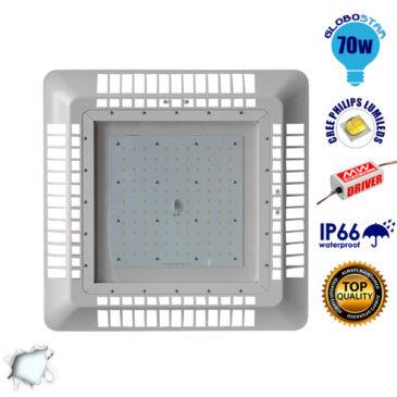 Φωτιστικό Οροφής για Βενζινάδικα Gas Station 70W 230V 9800lm 60° Αδιάβροχο IP65 Ψυχρό Λευκό 5000k GloboStar 02500