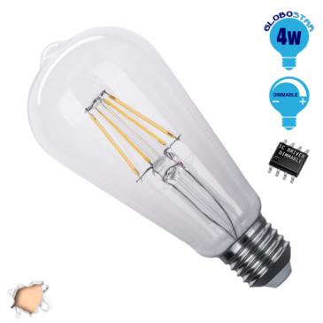 Λάμπα LED E27 ST64 Γλόμπος Αχλάδι 4W 230V 400lm 320° Edison Filament Retro Θερμό Λευκό 2700k Dimmable GloboStar 44018