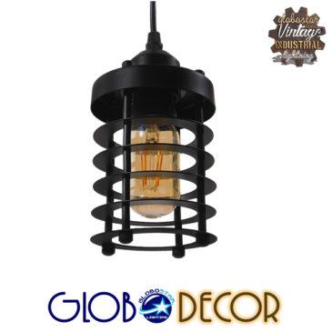 Vintage Industrial Κρεμαστό Φωτιστικό Οροφής Μονόφωτο Μαύρο Μεταλλικό Πλέγμα Φ10 GloboStar ROVENA 01145
