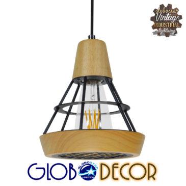Μοντέρνο Κρεμαστό Φωτιστικό Οροφής Μονόφωτο Μπεζ Ξύλινο με Μεταλλικό Πλέγμα Φ19 GloboStar WOODY 01133