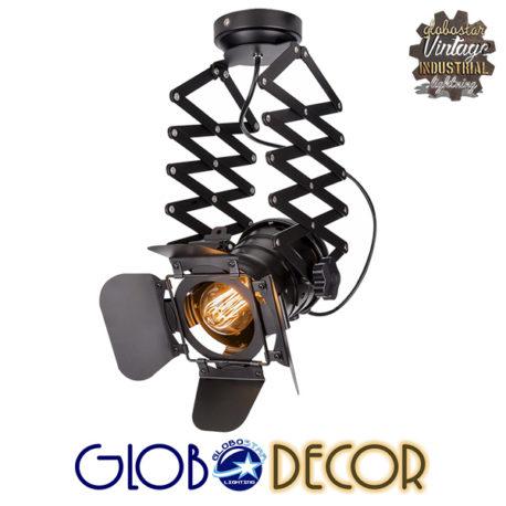 Vintage Industrial Φωτιστικό Οροφής Μονόφωτο Μαύρο Μεταλλικό GloboStar BROADWAY 01140