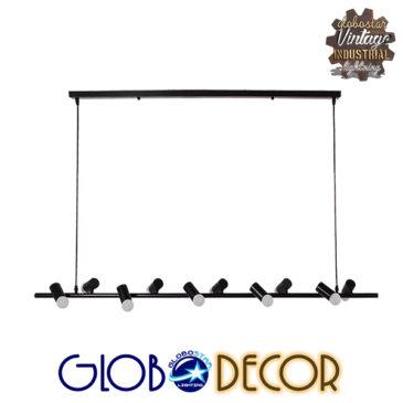 Μοντέρνο Κρεμαστό Φωτιστικό Οροφής Πολύφωτο Μαύρο Μεταλλικό Ράγα GloboStar ALFREDA 01242