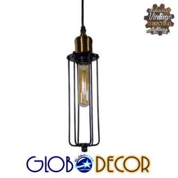 Vintage Industrial Κρεμαστό Φωτιστικό Οροφής Μονόφωτο Μαύρο Μεταλλικό Πλέγμα Φ7 GloboStar KLECE 01057