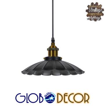 Vintage Industrial Κρεμαστό Φωτιστικό Οροφής Μονόφωτο Μαύρο Μεταλλικό Καμπάνα Φ25 GloboStar MARGARET 01166