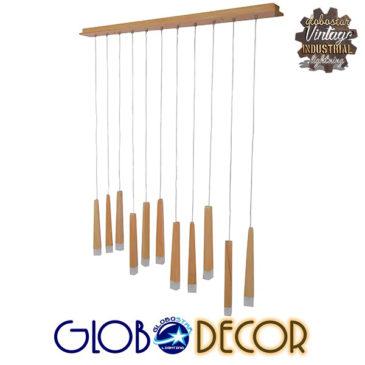 Μοντέρνο Κρεμαστό Φωτιστικό Οροφής Πολύφωτο LED Μπεζ Ξύλινο GloboStar WOODFALLS 01254