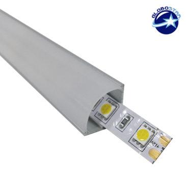 Γωνιακό Προφίλ Αλουμινίου 90° Επιτοίχιο Milky Cover για ταινίες LED GloboStar 77477
