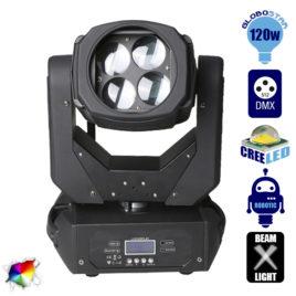 Επαγγελματική Κινούμενη Ρομποτική Κεφαλή TORNADO Super Beam CREE Prism LED 120W 230V 2° DMX512 RGBW GloboStar 51113