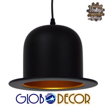 Vintage Κρεμαστό Φωτιστικό Οροφής Μονόφωτο Μαύρο Μεταλλικό Καμπάνα Φ26 GloboStar CHARLO 01214
