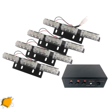 Εξωτερικά Φώτα Οδικής Βοήθειας STROBO LED 4×3 36W 10-30V IP65 Αδιάβροχα Πορτοκαλί GloboStar 88981
