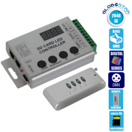Ασύρματο LED Digital Controller HC03 2048 IC DMX512 SD CARD για LED Digital Strip RGB GloboStar 88768