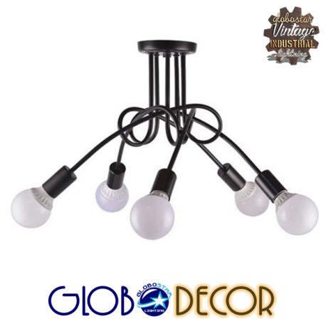Μοντέρνο Industrial Φωτιστικό Οροφής Πολύφωτο Μαύρο Μεταλλικό Φ76 GloboStar PAULELI 01127