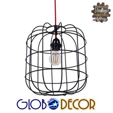 Μοντέρνο Industrial Κρεμαστό Φωτιστικό Οροφής Μονόφωτο Μαύρο Μεταλλικό Πλέγμα Φ30 GloboStar PARROT 01099