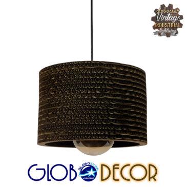 Vintage Κρεμαστό Φωτιστικό Οροφής Μονόφωτο 3D από Επεξεργασμένο Σκληρό Καφέ Χαρτόνι Καμπάνα Φ30 GloboStar PAROS 01290