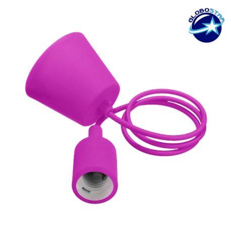 Φούξια Κρεμαστό Φωτιστικό Οροφής Σιλικόνης με Υφασμάτινο Καλώδιο 1 Μέτρο E27 GloboStar Rose Red 91003