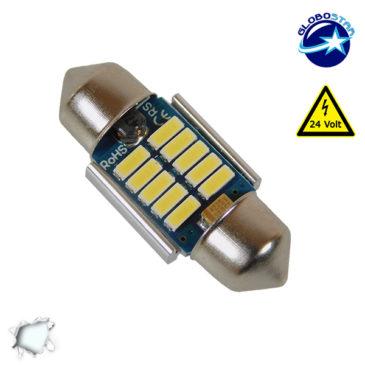 Σωληνωτός LED 31mm Can Bus με 10 SMD 4014 Samsung Chip 24 Volt Ψυχρό Λευκό GloboStar 50175