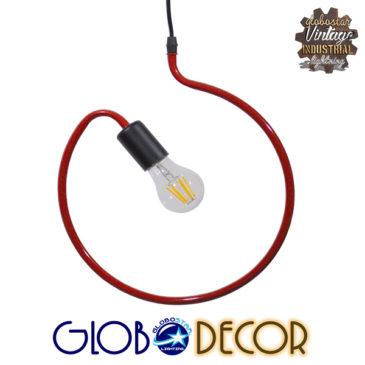 Μοντέρνο Κρεμαστό Φωτιστικό Οροφής Μονόφωτο Κόκκινο Μεταλλικό GloboStar KIDDY CIRCLE 01095