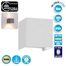 LED Φωτιστικό Τοίχου Αρχιτεκτονικού Φωτισμού Λευκό Up Down με Ρυθμιζόμενες Μοίρες Φωτισμού 10-100° 1400lm 230V Θερμό Λευκό IP65 GloboStar 96401