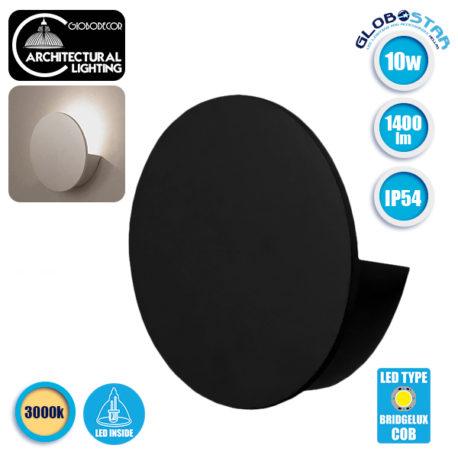 LED Φωτιστικό Τοίχου Απλίκα Αρχιτεκτονικού Φωτισμού Round Back Light Μαύρο IP54 10 Watt 60° 1400lm 230V CREE Θερμό Λευκό GloboStar 93054