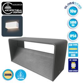 LED Φωτιστικό Τοίχου Απλίκα Αρχιτεκτονικού Φωτισμού Γκρι IP54 10 Watt 60° 1400lm 230V CREE Θερμό Λευκό GloboStar 93058