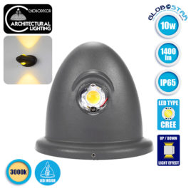 LED Φωτιστικό Τοίχου Αρχιτεκτονικού Φωτισμού Up Down Γκρι IP65 10 Watt 30° 1400lm 230V CREE Θερμό Λευκό GloboStar 93069