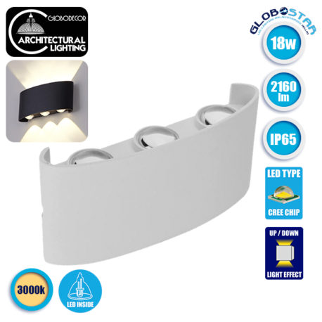 LED Φωτιστικό Τοίχου Αρχιτεκτονικού Φωτισμού Up Down Λευκό IP65 18 Watt 30° 2160lm 230V CREE Θερμό Λευκό GloboStar 93072