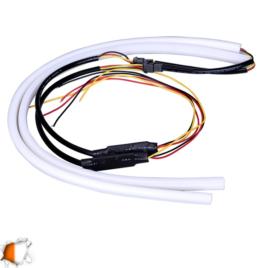 ΣΕΤ DRL – Φώτα Ημέρας για Φανάρι Αυτοκινήτου Λευκό + Πορτοκαλί για Φλας 85cm 12 Volt GloboStar 55115