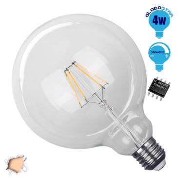 Λάμπα LED E27 G125 Γλόμπος 4W 230V 400lm 320° Edison Filament Retro Θερμό Λευκό 2700k Dimmable GloboStar 44016