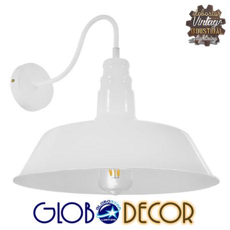 Vintage Industrial Φωτιστικό Τοίχου Απλίκα Μονόφωτο Λευκό Μεταλλικό Καμπάνα Φ36 GloboStar SORD WHITE 01051