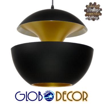 Μοντέρνο Κρεμαστό Φωτιστικό Οροφής Μονόφωτο Μαύρο Μεταλλικό Φ35 GloboStar SEVILLE BLACK 01269