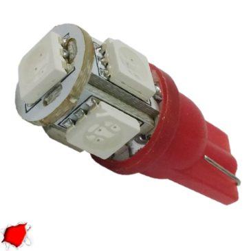 Λαμπτήρας LED T10 με 5 SMD 5050 Κόκκινο GloboStar 90351
