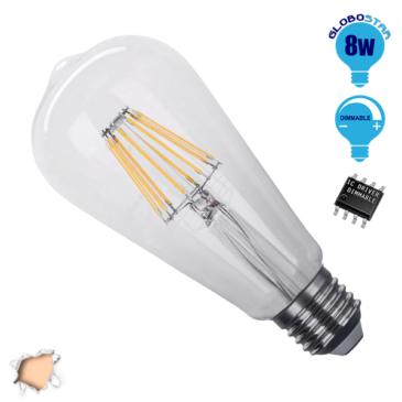 Λάμπα LED E27 ST64 Γλόμπος Αχλάδι 8W 230V 800lm 320° Edison Filament Retro Θερμό Λευκό 2700k Dimmable GloboStar 44013