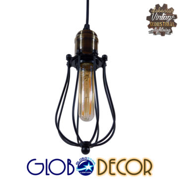 Vintage Industrial Κρεμαστό Φωτιστικό Οροφής Μονόφωτο Μαύρο Μεταλλικό Πλέγμα Φ11 GloboStar DELTA 01016