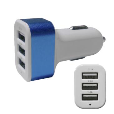 Φορτιστής Αναπτήρα Αυτοκινήτου 3 x USB Μπλε GloboStar 69993