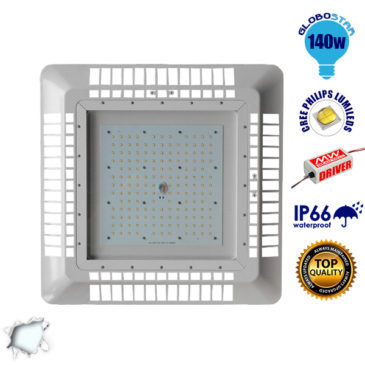 Φωτιστικό Οροφής για Βενζινάδικα Gas Station 140W 230V 19600lm 60° Αδιάβροχο IP65 Ψυχρό Λευκό 5000k GloboStar 02501