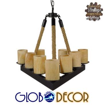 Vintage Κρεμαστό Φωτιστικό Οροφής Πολύφωτο Μαύρο Μεταλλικό με Όνυχα Πολυέλαιος με Μπεζ Σχοινί GloboStar RUNE 01021