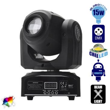 Επαγγελματική Κινούμενη Ρομποτική Κεφαλή Mini Beam CREE LED 15W 230V 13° DMX512 RGBW GloboStar 51114