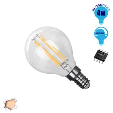 Λάμπα LED E14 G45 Mini Γλόμπος 4W 230V 400lm 320° Edison Filament Retro Θερμό Λευκό 2700k Dimmable GloboStar 44006