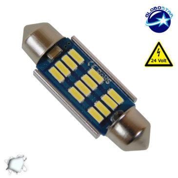 Σωληνωτός LED 39mm Can Bus με 12 SMD 4014 Samsung Chip 24 Volt Ψυχρό Λευκό GloboStar 50177