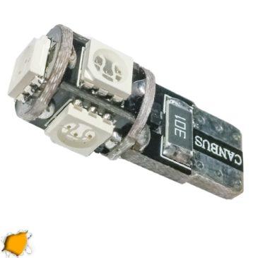 Λαμπτήρας LED T10 Can Bus με 5 SMD 5050 Πορτοκαλί GloboStar 08050