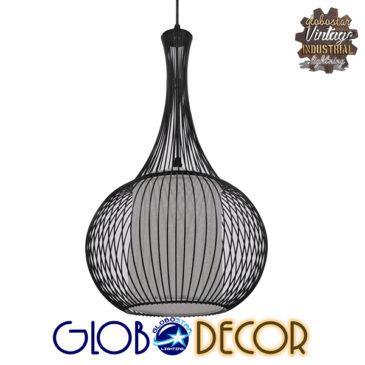 Μοντέρνο Κρεμαστό Φωτιστικό Οροφής Μονόφωτο Μαύρο Μεταλλικό Πλέγμα με Υφασμάτινο Εσωτερικό Καπέλο Φ30 GloboStar BERNA 01198