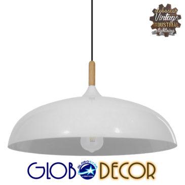 Μοντέρνο Κρεμαστό Φωτιστικό Οροφής Μονόφωτο Λευκό Μεταλλικό Καμπάνα Φ60 GloboStar VALLETE WHITE 01257