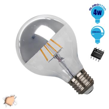 Λάμπα LED E27 G80 Ανεστραμμένου Καθρέπτου 4W 230V 400lm 180° Edison Filament Retro Θερμό Λευκό Ασημί 2700k Dimmable GloboStar 44015