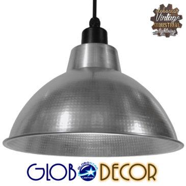 Vintage Industrial Κρεμαστό Φωτιστικό Οροφής Μονόφωτο Ασημί Μεταλλικό Καμπάνα Φ39 GloboStar LOUVE SILVER 01178