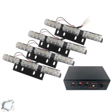 Εξωτερικά Φώτα Οδικής Βοήθειας STROBO LED 4×3 36W 10-30V IP65 Αδιάβροχα Λευκό GloboStar 17941