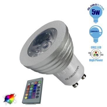 Λάμπα LED Σποτ GU10 5W 230V 325lm 35° με Ασύρματο Χειριστήριο RGB GloboStar 88965