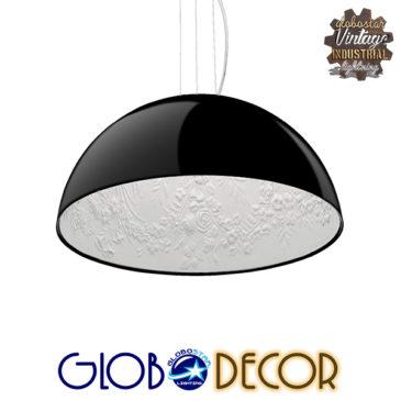 Μοντέρνο Κρεμαστό Φωτιστικό Οροφής Μονόφωτο Μαύρο Γύψινο Καμπάνα Φ40 GloboStar SERENIA BLACK 01151