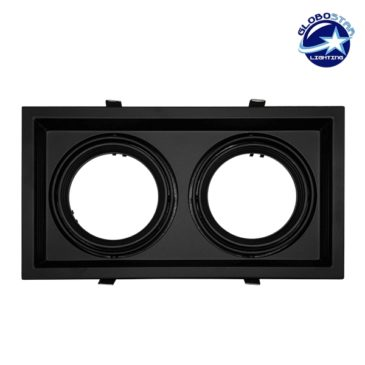 Χωνευτή Τετράγωνη Διπλή Βάση για Spot AR111 Μαύρη Κινούμενη σε 2 άξονες GloboStar 90088